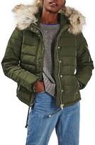 Topshop Woody Faux Fur Hood Puffer Jacket