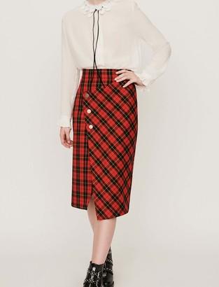 Maje Asymmetrical plaid skirt