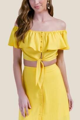 francesca's Victoria Off the Shoulder Crop Top - Sunshine