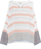 Lemlem Bethany striped cotton-blend gauze hooded top