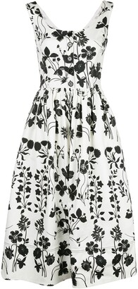 Oscar de la Renta botanical silhouette dress