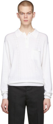 Second/Layer White Knit Long Sleeve Polo