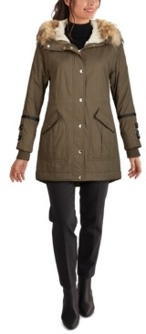 GUESS Faux-Fur Trim Hooded Anorak, Created for Macy's