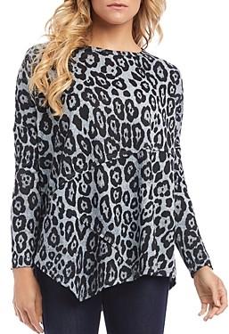 Karen Kane Asymmetric Leopard Print Top