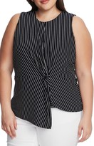 Vince Camuto Linear Moments Stripe Side Twist Sleeveless Top
