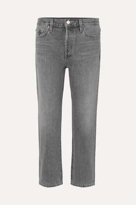 Gold Sign The Low Slung Cropped Mid-rise Straight-leg Jeans - Gray