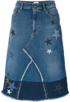 RED Valentino star patches denim skirt - women - Cotton/Spandex/Elastane - 38