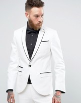 Noose & Monkey Super Skinny Suit Jacket With Piping