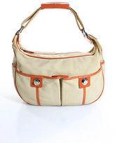 Tod's Tods Beige Nylon Orange Leather Trim Zip Top Shoulder Handbag