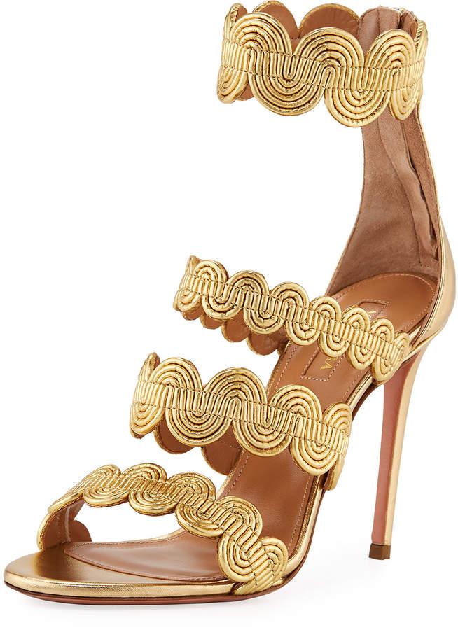 Aquazzura Jodhpur Metallic Swirl Sandal