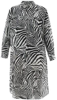 Junya Watanabe Zebra-print Muslin Shirt Dress - White Black