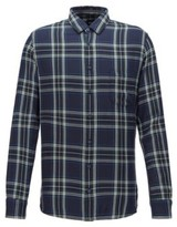 BOSS Slim-fit shirt with patchworked checks