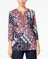 Charter Club Floral-Print Split-Neck Top, Only at Macy's