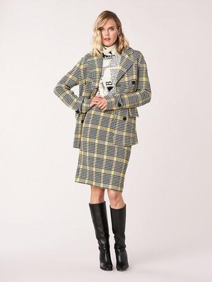 Diane von Furstenberg Peria Knit Jacquard Double-Breasted Blazer