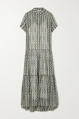 MUNTHE Evelyn Printed Metallic Fil Coupe Silk-blend Chiffon Maxi Dress - Army green