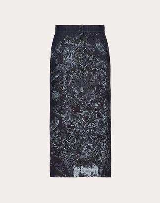 Valentino Printed Denim Skirt Women Blue Cotton 100% 40