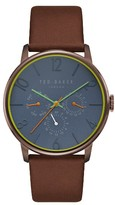 Ted Baker James Chronograph Leather Strap Watch, 42Mm
