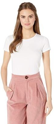 Majestic Filatures Soft Touch Flat-Edge Short Sleeve Crew Neck Tee (Blanc) Women's Clothing