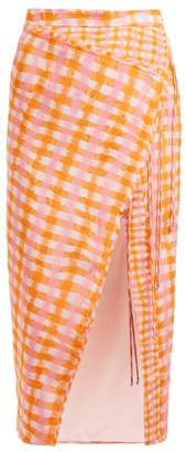 Altuzarra Cicero Gingham-print Silk Midi Skirt - Womens - Orange Multi