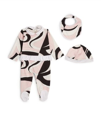 Emilio Pucci Junior Heliconia All-In-One, Bib and Hat Set (12 Months)