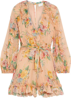 Zimmermann Zinnia Wrap-effect Floral-print Silk-georgette Playsuit