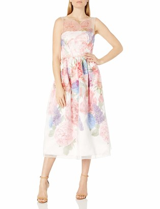 Carmen Marc Valvo Women's Floral Organza Party Dress with Beaded Belt