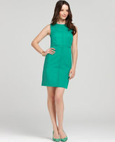 Petite Polished Cotton Seamed Zip Sheath Dress