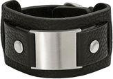 FINE JEWELRY Mens Stainless Steel & Black Leather Bracelet