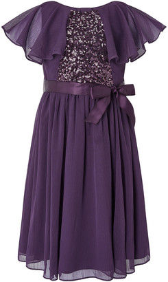 Monsoon Cape Sleeve Sequin Dress in Recycled Fabric Purple