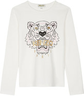 Kenzo Tiger print cotton long-sleeved top 4-16 years