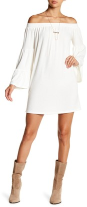 Go Couture Off-the-Shoulder Mini Bell Sleeve Dress