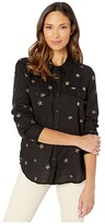 True Grit Dylan By Dylan by Shadow Stripe Embroidered Stars Long Sleeve Two-Pocket Shirt (Black) Women's Clothing
