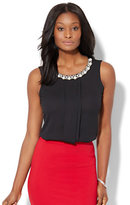 New York & Co. 7th Avenue Design Studio - Faux-Pearl Accent Sleeveless Top