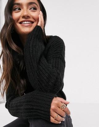 New Look longline jumper in black