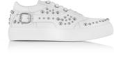 Jimmy Choo Roman White Leather Low Top Sneaker w/Studs