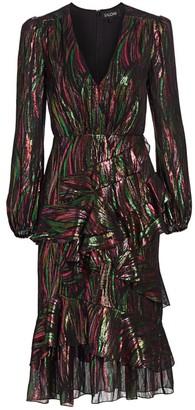 Saloni Alya Metallic Striped Midi Dress