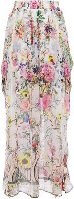 Camilla Crystal-embellished Floral-print Silk-georgette Maxi Skirt