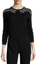 Neiman Marcus Crystal-Embellished Cashmere Cardigan, Black