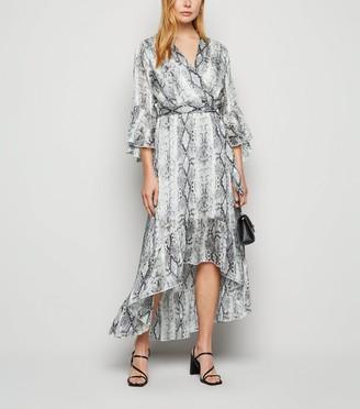 New Look Light Snake Print Glitter Ruffle Wrap Dress
