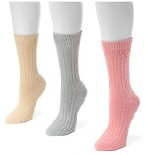 Muk Luks Women's 3 Pair Pack Waffle Boot Socks - Multicolor One Size