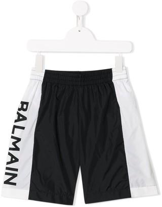 Balmain Kids printed logo swim shorts