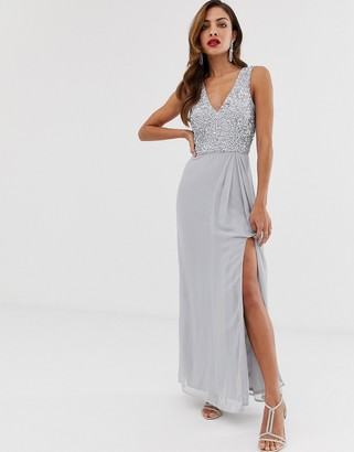Little Mistress v front and back sleeveless maxi dress-Grey