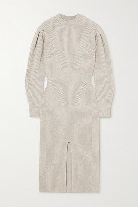 Isabel Marant Perrine Ribbed Cashmere And Wool-blend Midi Dress - Gray