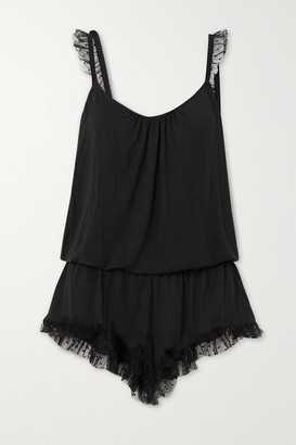 Eberjey Iona Point D'esprit Tulle-trimmed Stretch-modal Playsuit - Black