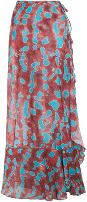 Adriana Degreas Ruffled Printed Cotton And Silk-blend Mousseline Skirt