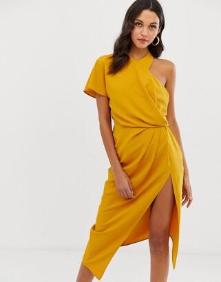 ASOS DESIGN asymmetric neckline drape detail midi dress