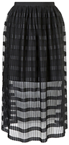 Miss Selfridge Pleat Net Midi Skirt, Black