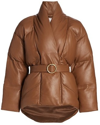 Frame Leather Wrap Puffer Jacket