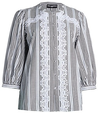 Karl Lagerfeld Paris Embellished Striped Blouse