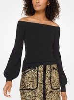 Michael Kors Ribbed Merino Wool Off-the-Shoulder Pullover